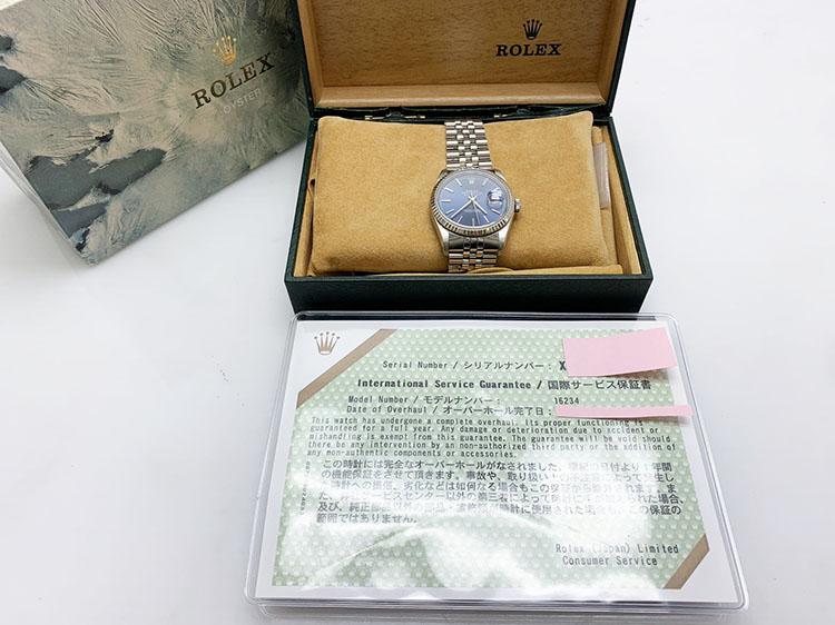 時計 ロレックス 16234 X番 国際サービス保証書 中古Bランク 買取450.000円