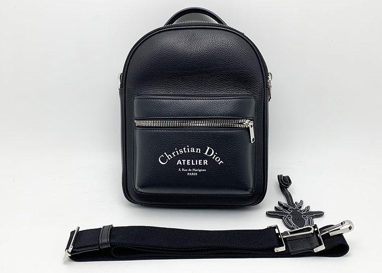 バッグ クリスチャンディオール ATELIER レザー 黒 ショルダー 中古Aランク 買取70.000円
